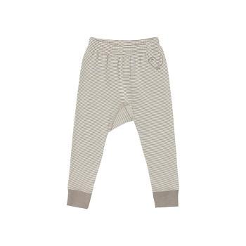 BIRDIE Kojenecké kalhoty z bio merino vlny a hedvábí - béžová taupe proužek