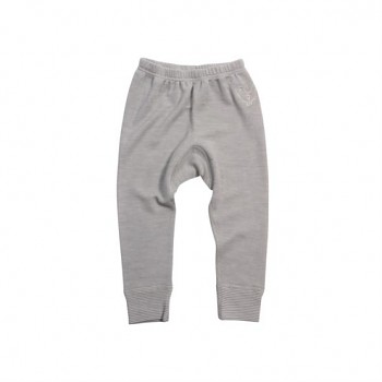 BIRDIE Kojenecké kalhoty z bio merino vlny a hedvábí - šedá melange