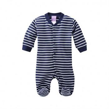 DOLPHIN kojenecké pyžamo ze 100% biobavlny - tmavě modrá navy proužek