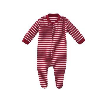 DOLPHIN kojenecké pyžamo ze 100% biobavlny - červená proužek