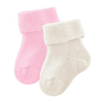 GECKO kojenecké ponožky z biobavlny (2 páry) - přírodní / růžová