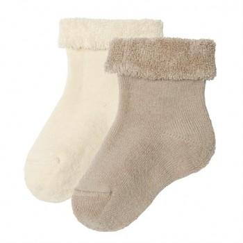 GECKO kojenecké ponožky z biobavlny (2 páry) - přírodní / taupe