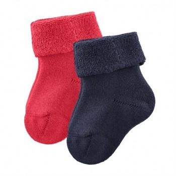 GECKO kojenecké ponožky z biobavlny (2 páry) - modrá / červená