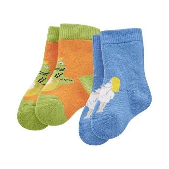 DUMBO kojenecké ponožky z biobavlny (2 páry) - dýňová / kobaltová