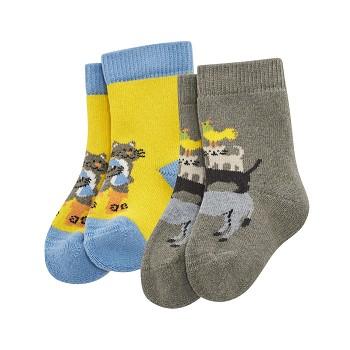 DUMBO kojenecké ponožky z biobavlny (2 páry) - žlutá / šedá