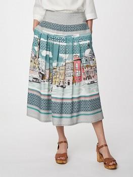 CANALETTO dámská sukně ze 100% tencelu - modrá lagoon