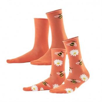 INORI dámské ponožky z biobavlny - korálová (2 páry)