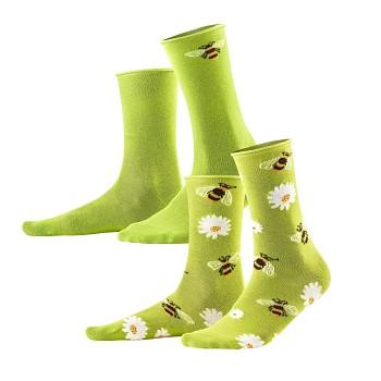 INORI dámské ponožky z biobavlny - zelená (2 páry)