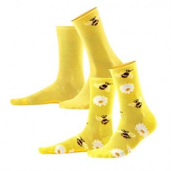 INORI dámské ponožky z biobavlny - žlutá (2 páry)