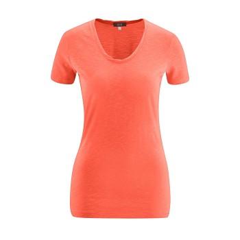 ALEXANDRA Dámské tričko s krátkými rukávy ze 100% biobavlny - korálová