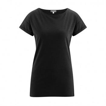 IDONY Dámské tričko s krátkými rukávy z bambusu a biobavlny - černá
