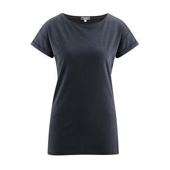 IDONY Dámské tričko s krátkými rukávy z bambusu a biobavlny - tmavě modrá ink