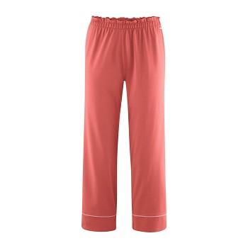 ILEA dámské 7/8 pyžamové kalhoty ze 100% biobavlny - červená