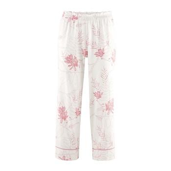 ILEA dámské 7/8 pyžamové kalhoty ze 100% biobavlny - bílá