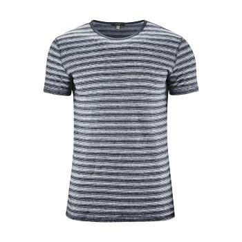 ANDY Pánské tričko s krátkými rukávy ze 100% lnu - modrá ink/bílá (proužek)