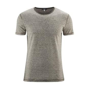 ANDY Pánské tričko s krátkými rukávy ze 100% lnu - olivová melange