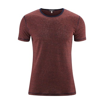 ANDY Pánské tričko s krátkými rukávy ze 100% lnu - červená rosso / modrá ink