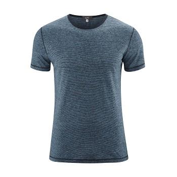 ANDY Pánské tričko s krátkými rukávy ze 100% lnu - modrá turqouise/ink