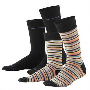 IVEN pánské ponožky z biobavlny - černá / proužek