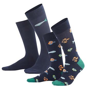 IVEN pánské ponožky z biobavlny - modrá ocean