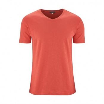 GLEN Pánské tričko s krátkými rukávy ze 100% biobavlny - červená langoustino