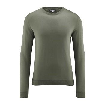 ILARIO Pánský svetr ze 100% biobavlny - olivová