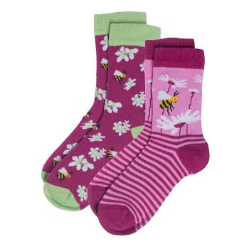 BEAR Dětské ponožky z biobavlny (2 páry)  - zelená (včelky)