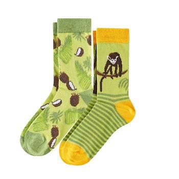 BEAR Dětské ponožky z biobavlny (2 páry)  - zelená (opičky)