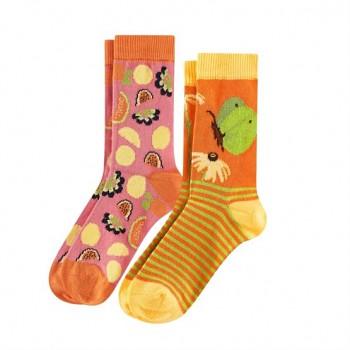 BEAR Dětské ponožky z biobavlny (2 páry)  - oranžová (motýlci)