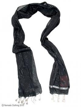 Bavlněná lurexová šála s penízky černá