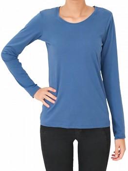 Albero dámský top s dlouhými rukávy ze 100% biobavlny - modrá denim
