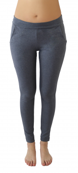 Albero dámské kalhoty s kapsami na jógu z biobavlny - modrá navy melange