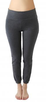 Albero dámské kalhoty na jógu z biobavlny - šedá antracit melange