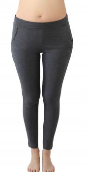 Albero dámské kalhoty s kapsami na jógu z biobavlny - šedá antracit melange