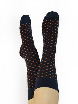 Ponožky ze biobavlny - modrá/oranžová puntík