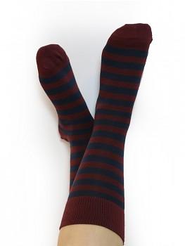 Ponožky ze biobavlny - bordó proužek