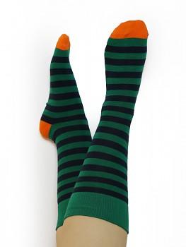Ponožky ze biobavlny - zelený proužek