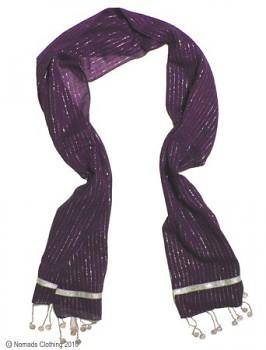 Bavlněná lurexová šála s penízky tmavě fialová