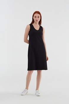 Albero dámské úpletové šaty bez rukávů z biobavlny - černá