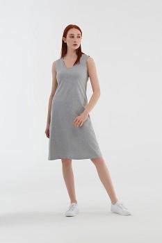 Albero dámské úpletové šaty bez rukávů z biobavlny - šedá melange