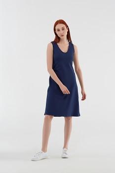Albero dámské úpletové šaty bez rukávů z biobavlny - modrá navy