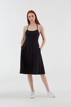 Albero dámské úpletové šaty na ramínka z biobavlny - černá