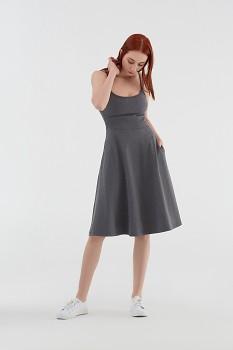 Albero dámské úpletové šaty na ramínka z biobavlny - šedá antracit