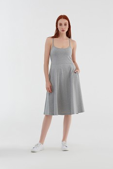 Albero dámské úpletové šaty na ramínka z biobavlny - světle šedá melange