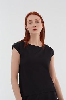 Albero dámský top s krátkými rukávy z biobavlny - černá