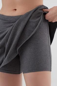 Albero dámské úpletové šortky se sukní z biobavlny - šedá antracit