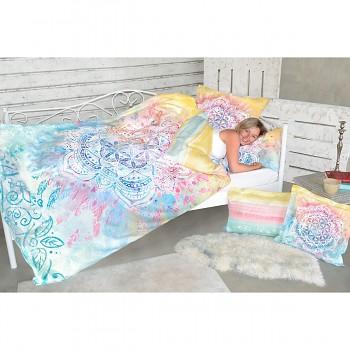 BEAUTY DREAM povlak na přikrývku ze 100% biobavlny 200 x 220 cm s růženínem  - duhová