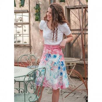 ROSE SKY Dámská sukně z bambusu a biobavlny s růženínem - růžová