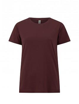 Dámské tričko s krátkými rukávy z 100% biobavlny - fialová burgundy