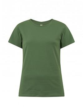 Dámské tričko s krátkými rukávy z 100% biobavlny - zelená leaf